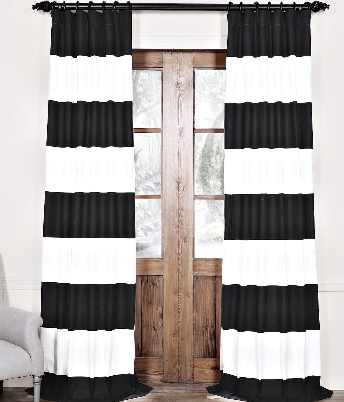 Black and white curtains - Black And White Horizontal Striped Curtains