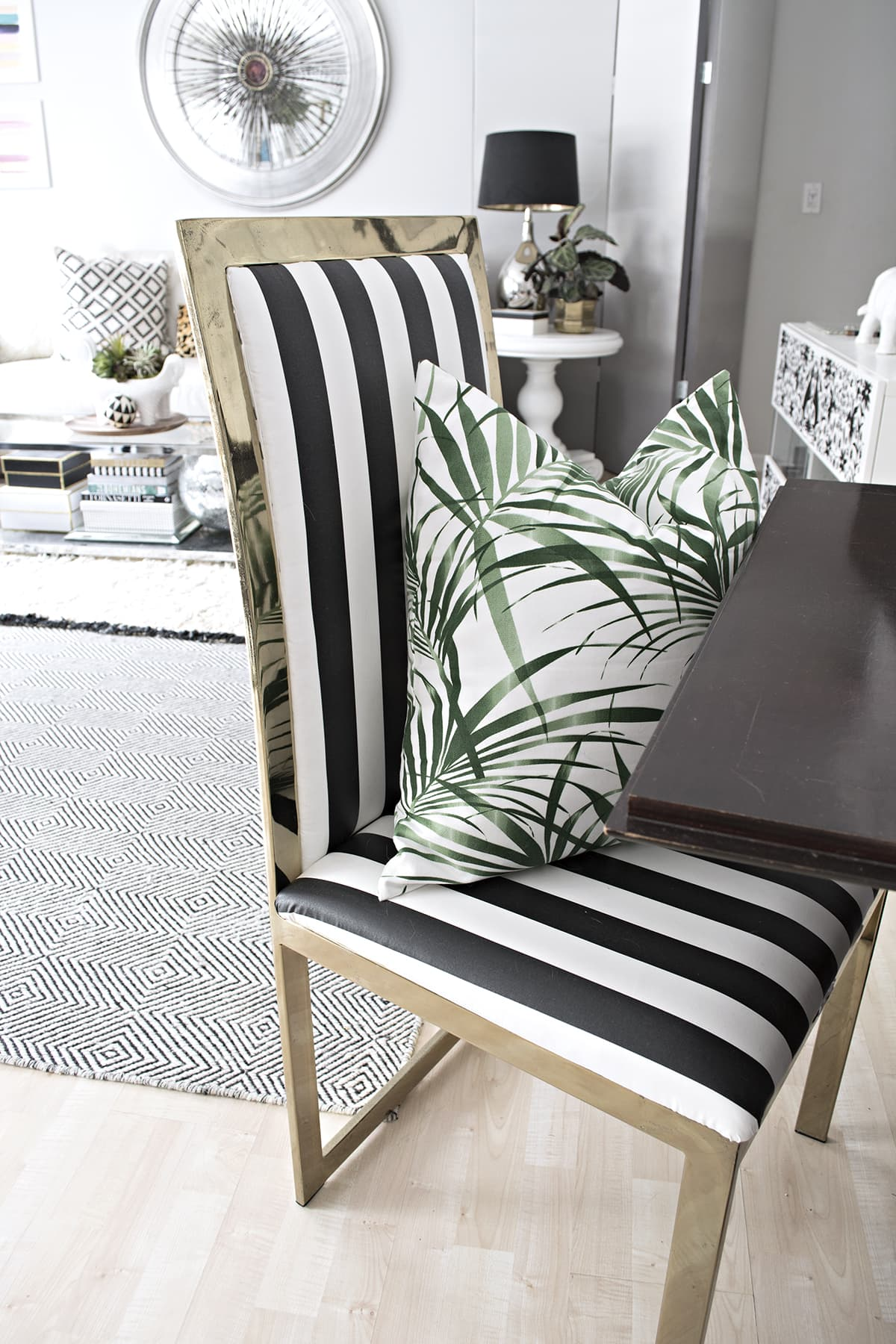 black and white striped furniture. interesting striped rug here  similar cream mine is vintage pillow  discontinued lampshade lamp leopard black and  with black and white striped furniture