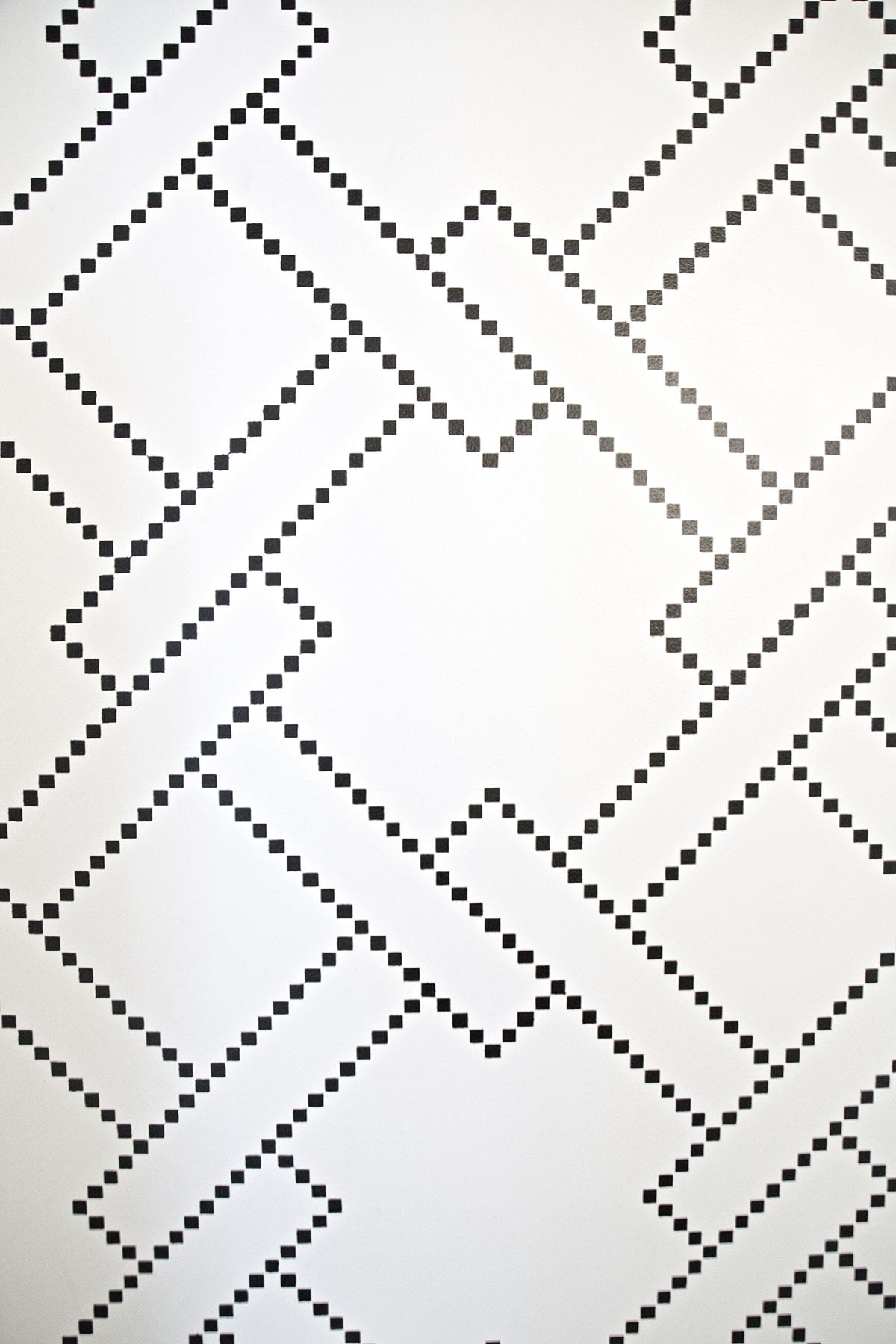 black and white tile mosaic stencil