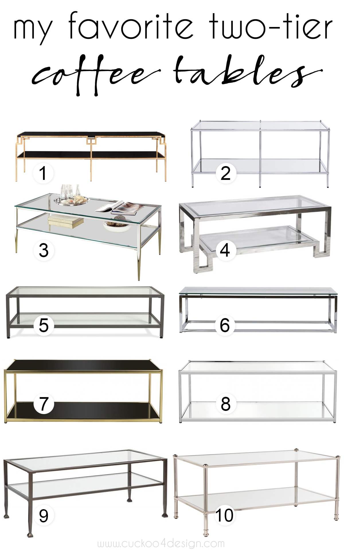 my favorite chrome and brass two tier coffee tables