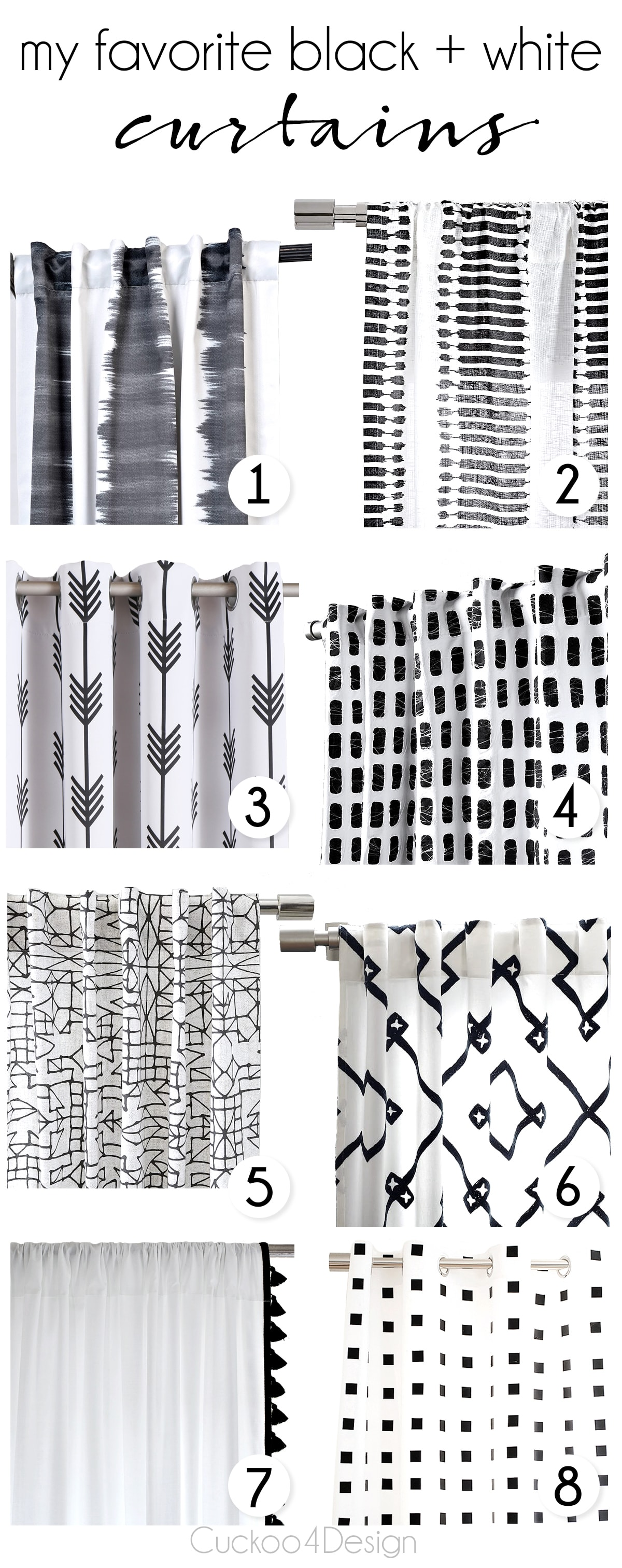 Black and white curtains - Black And White Curtains That Would Look Good In Almost Any Style Home Some Are