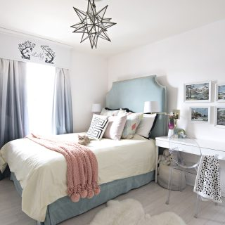 teal turquoise yellow coral girls bedroom