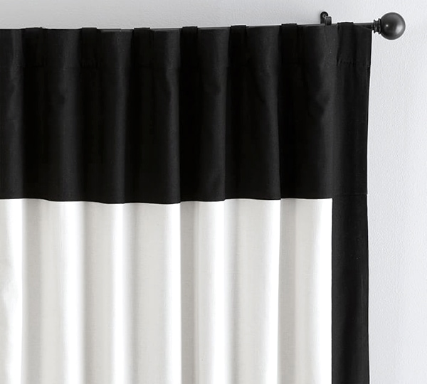 White With Black Trim Curtains