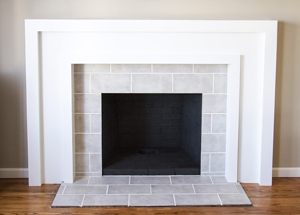 chunky modern white fireplace makeover