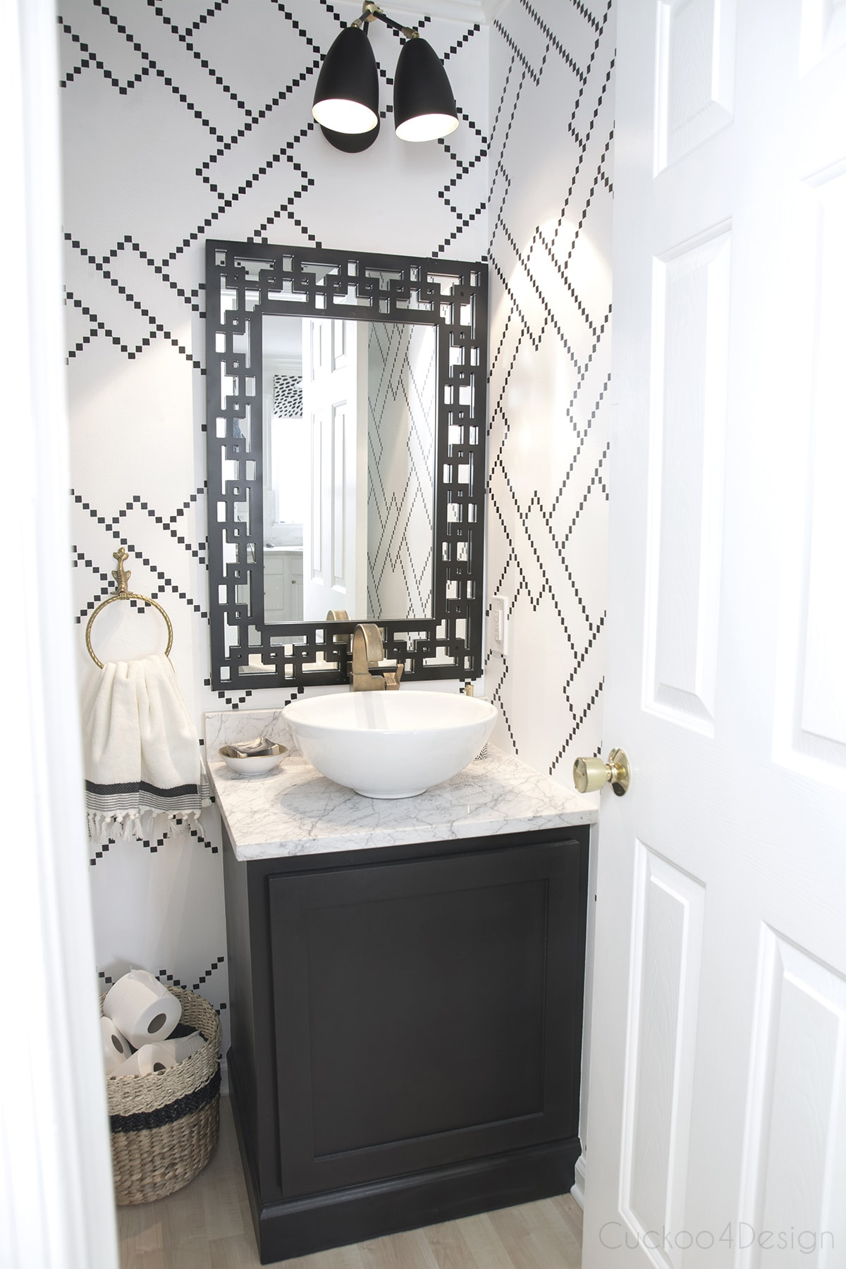 custom black and gold vanity light
