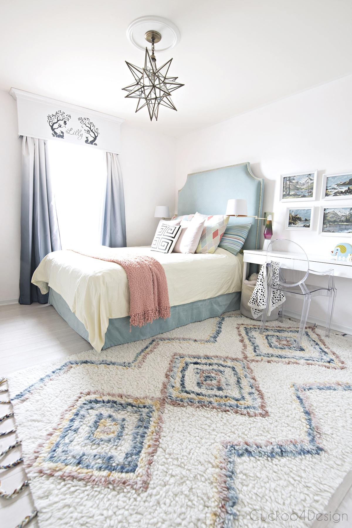 turquoise, yellow and blue girls bedroom with colored Moroccan shag rug