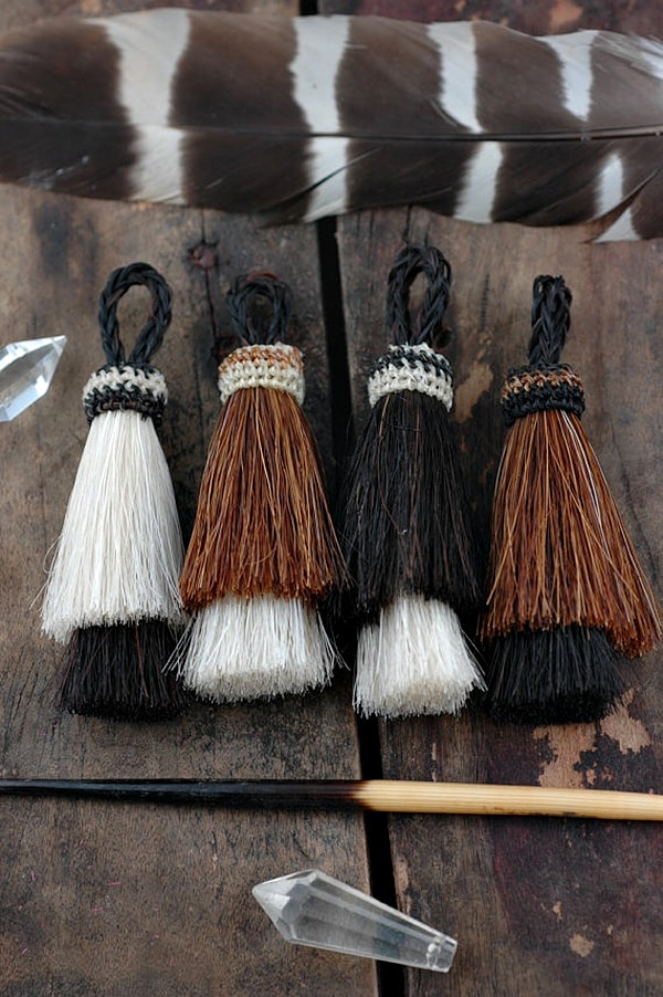 black and white horse hair tassels