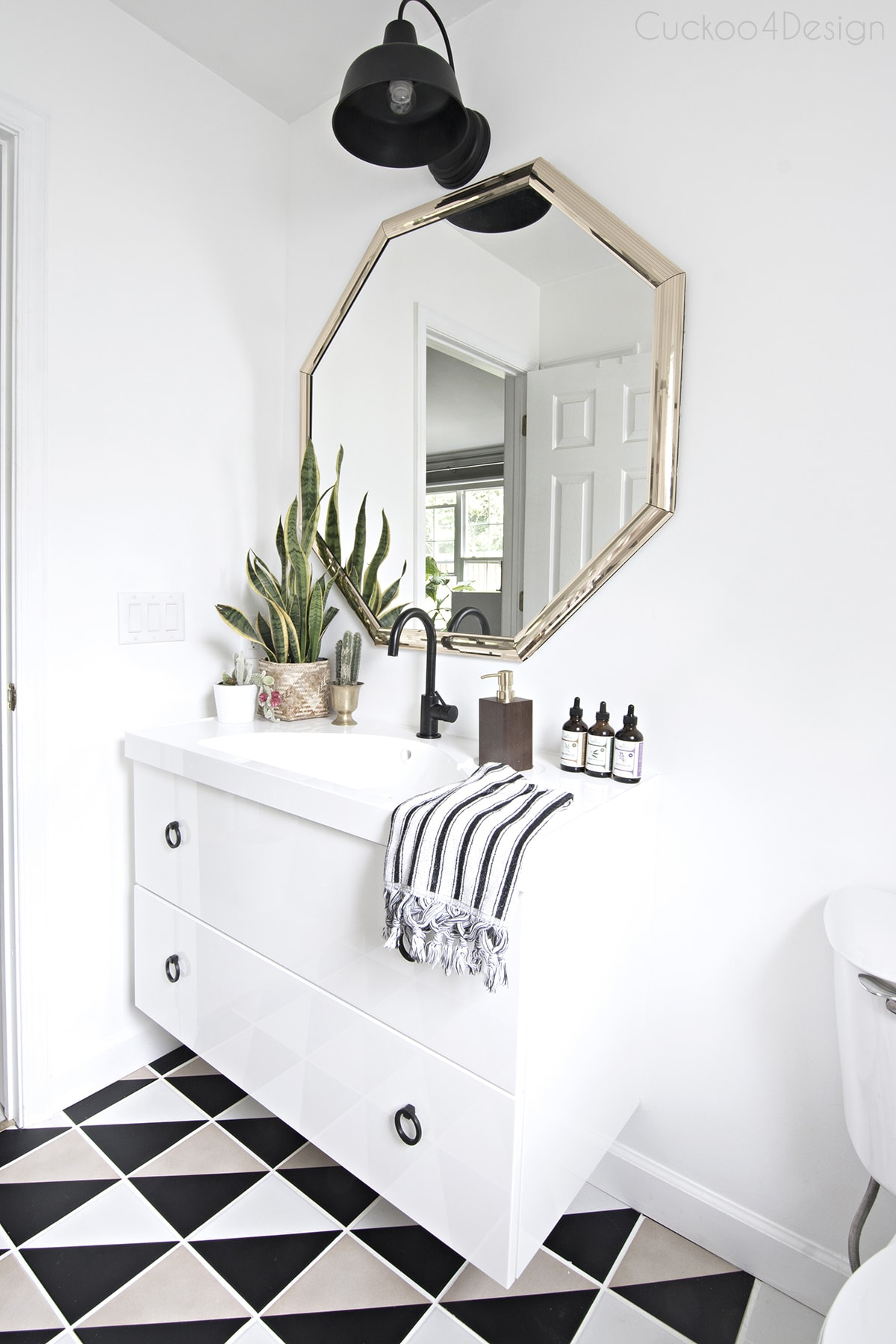 black and white budget bathroom makeover
