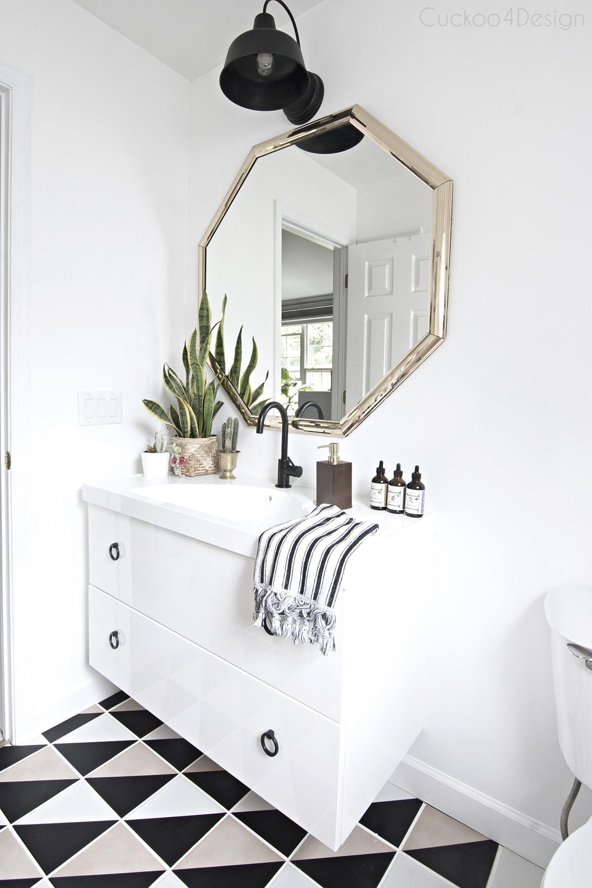 black and white budget bathroom makeover