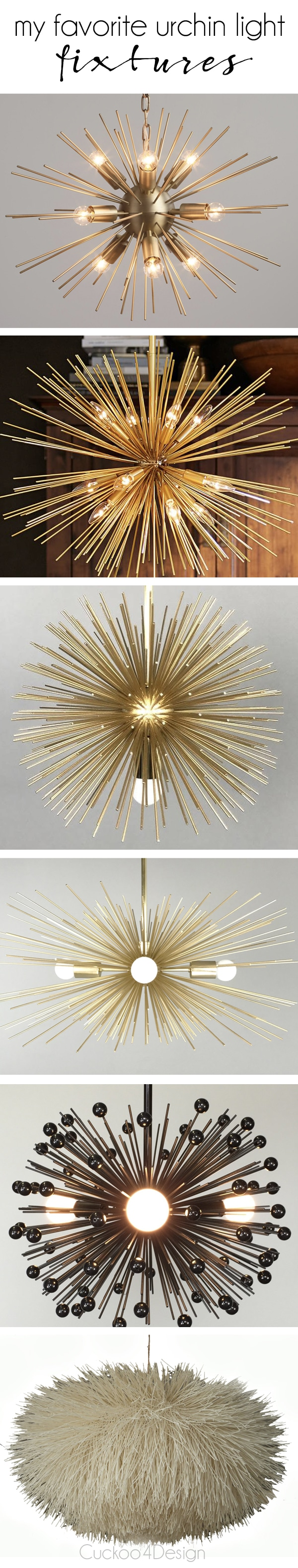 my favorite urchin light fixtures in black, gold and cream