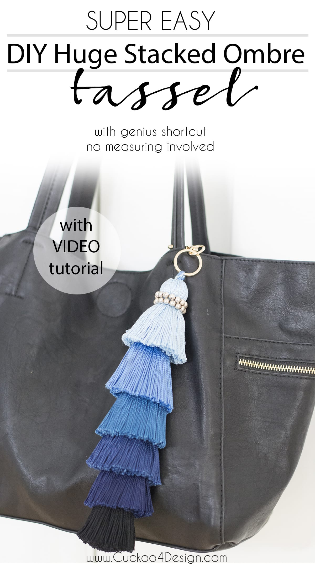 DIY huge stacked ombre tassel with genius shortcut. No measuring involved!