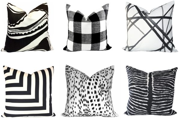 21 beautiful handmade black and white pillow covers from Etsy (support small businesses)