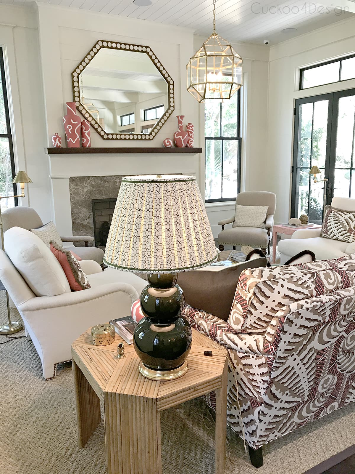 eclectic coastal living room_with_vintage rattan pieces and custom upholstery furniture