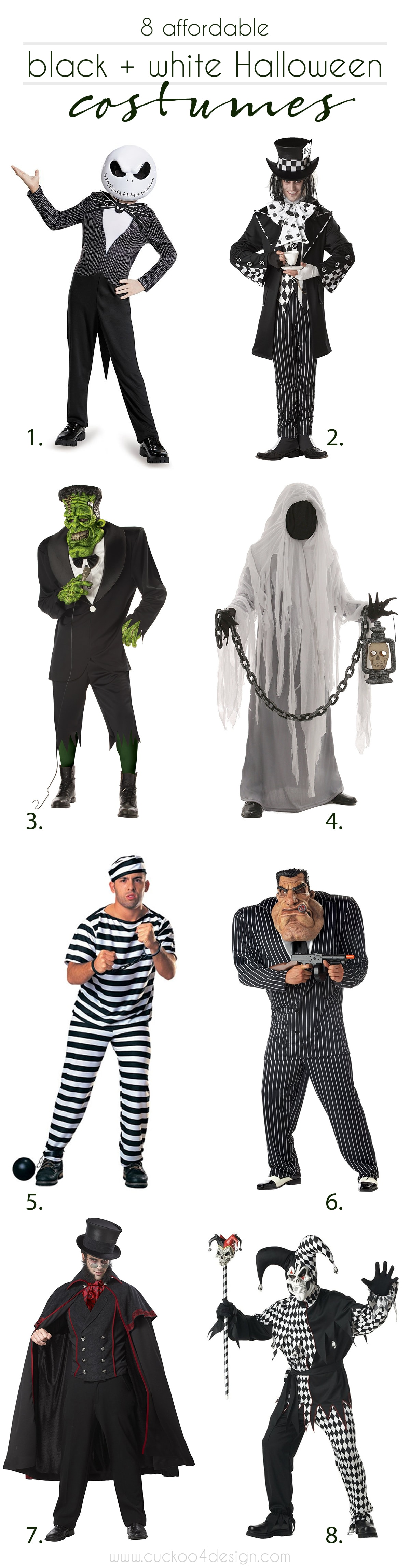 8 affordable mens black and white mens Halloween costumes
