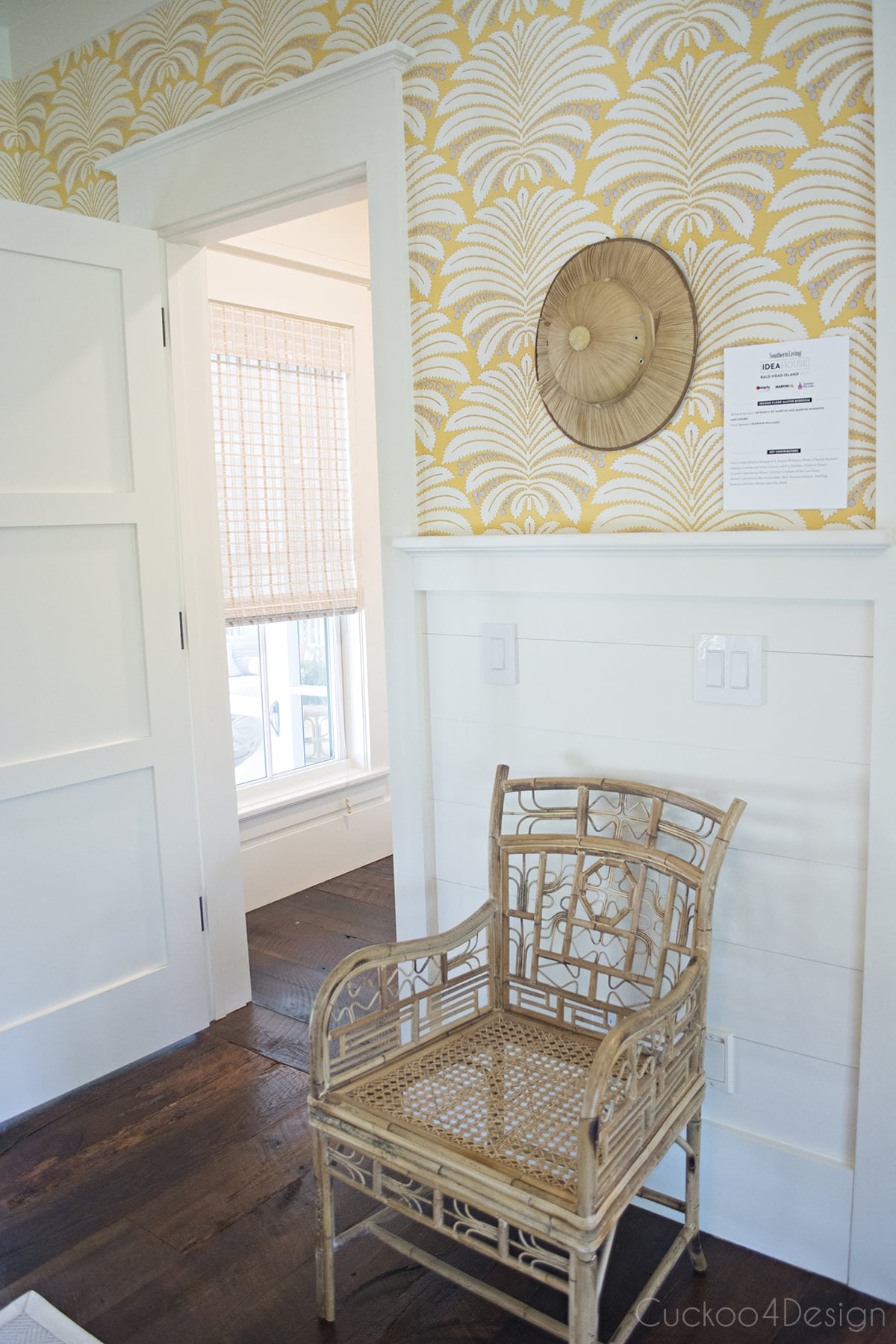 Hines Palmyra in yellow wallpaper and fabric and vintage rattan chair