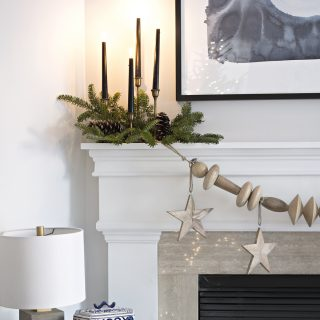 DIY huge wood bead garland made with unfinished furniture feet