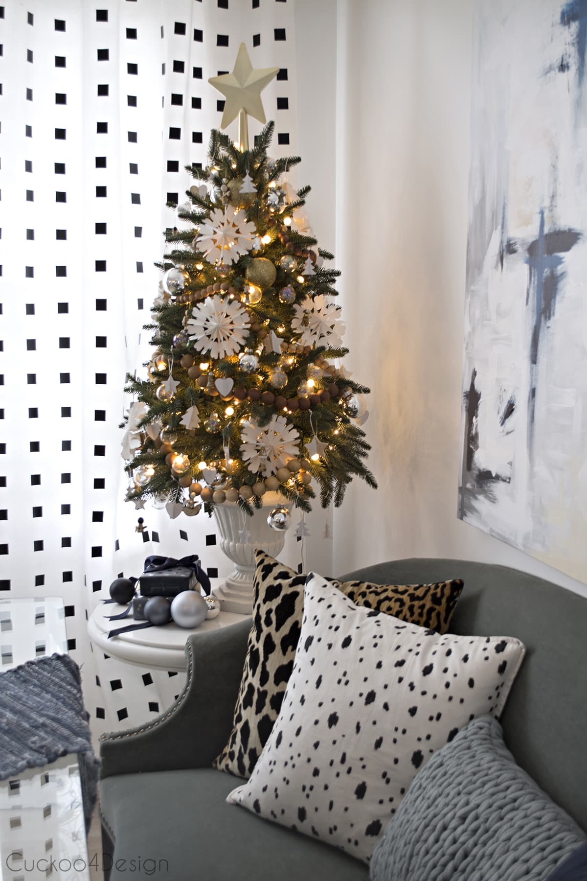 my favorite artificial Christmas trees | white, wood and gold Christmas decor with white snowflakes