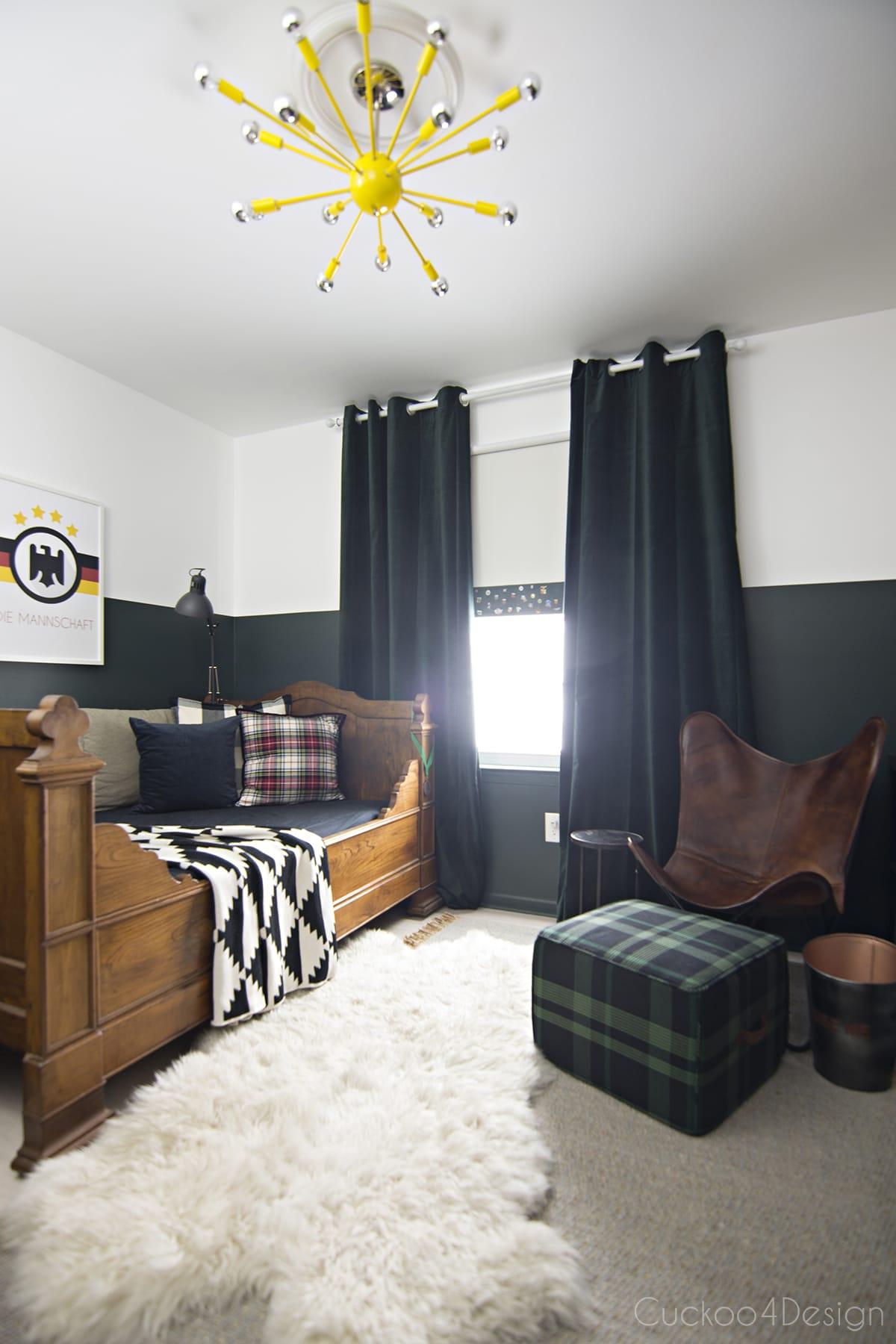 sophisticated boys room with dark green walls - cuckoo4design