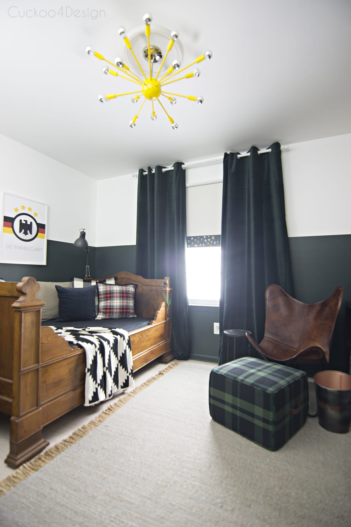 Butterscotch Leather Butterfly Chair In Sophisticated Boys Bedroom With  Dark Green Walls, Mixed Plaids And