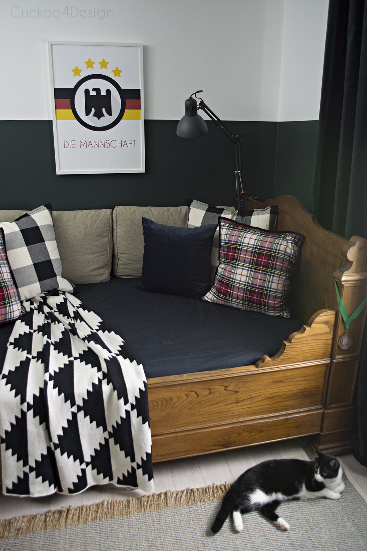 Butterscotch Leather Butterfly Chair In Sophisticated Boys Bedroom With Dark Green Walls Mixed Plaids And