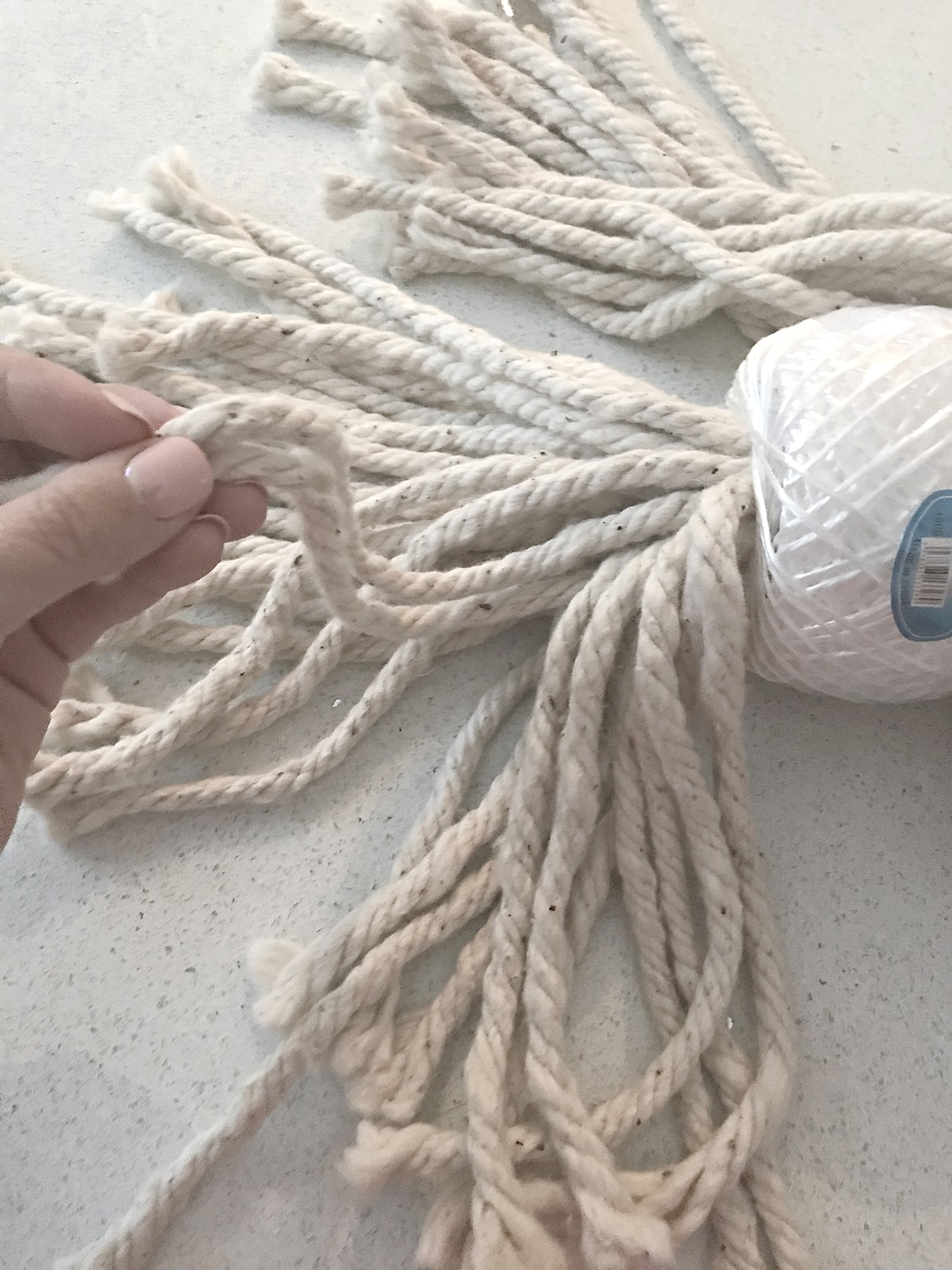 mop head and twine needed to make a huge stylish tassel