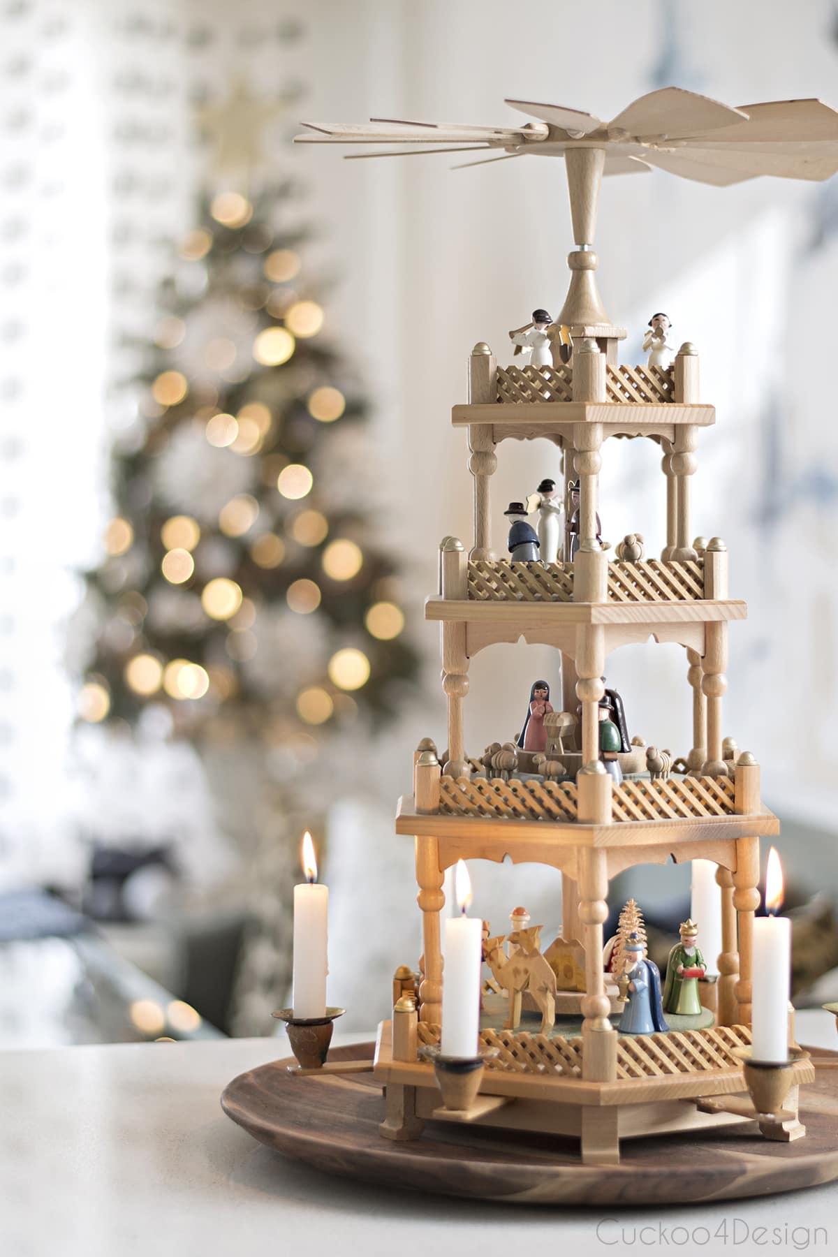 wooden German three tier Christmas pyramid