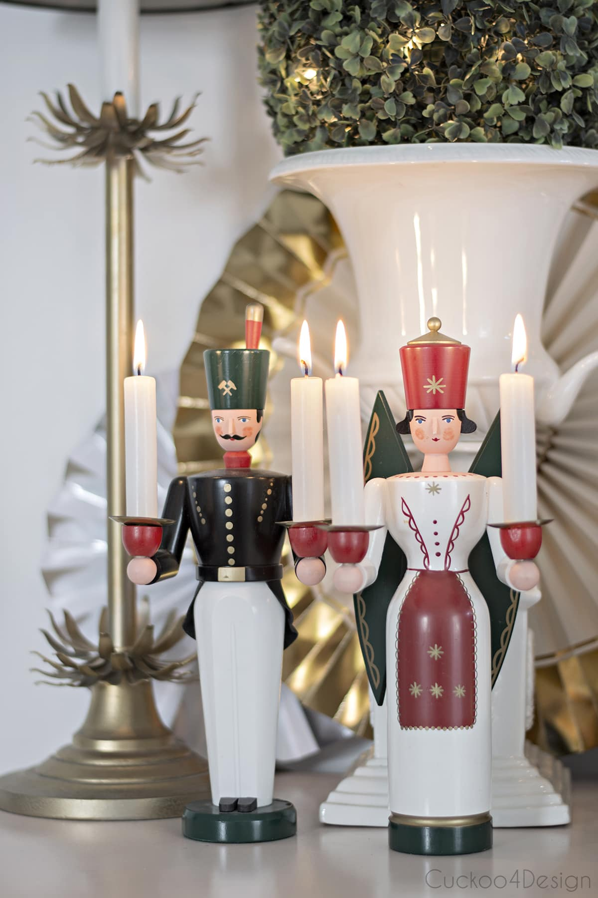 German Erzgebirge soldier/worker and angel with candles