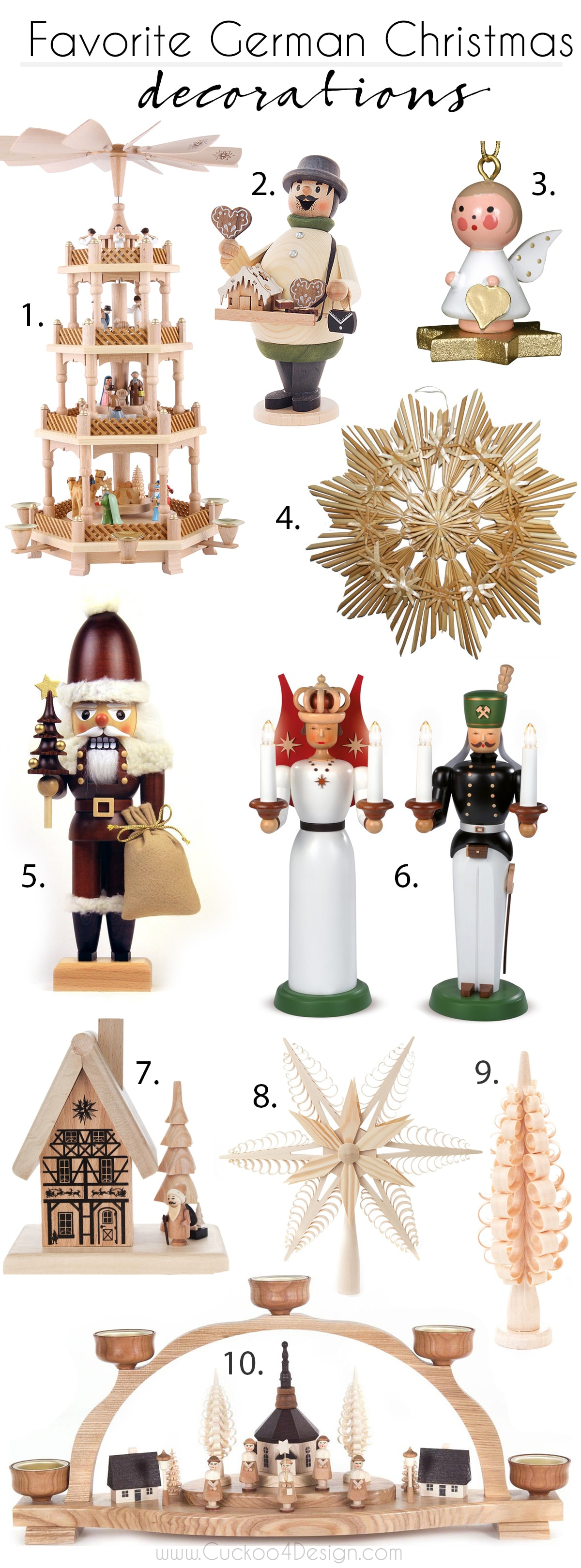 favorite German Christmas Decorations: candle arches, nut crackers, incense smokers, Christmas pyramids, shaved trees and star stars and ornaments