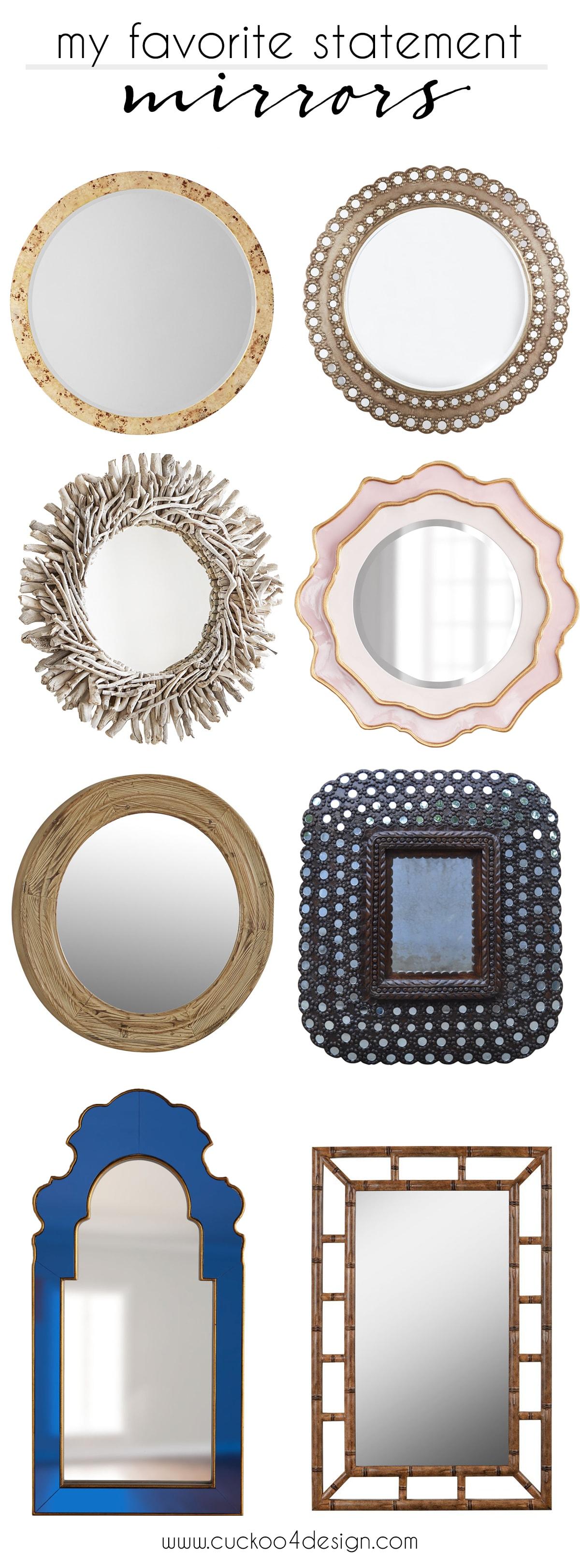 my favorite statement mirrors | burl wood mirror | drift wood mirror | cobalt blue mirror | blush mirror | unfinished wood mirror | peacock mirror