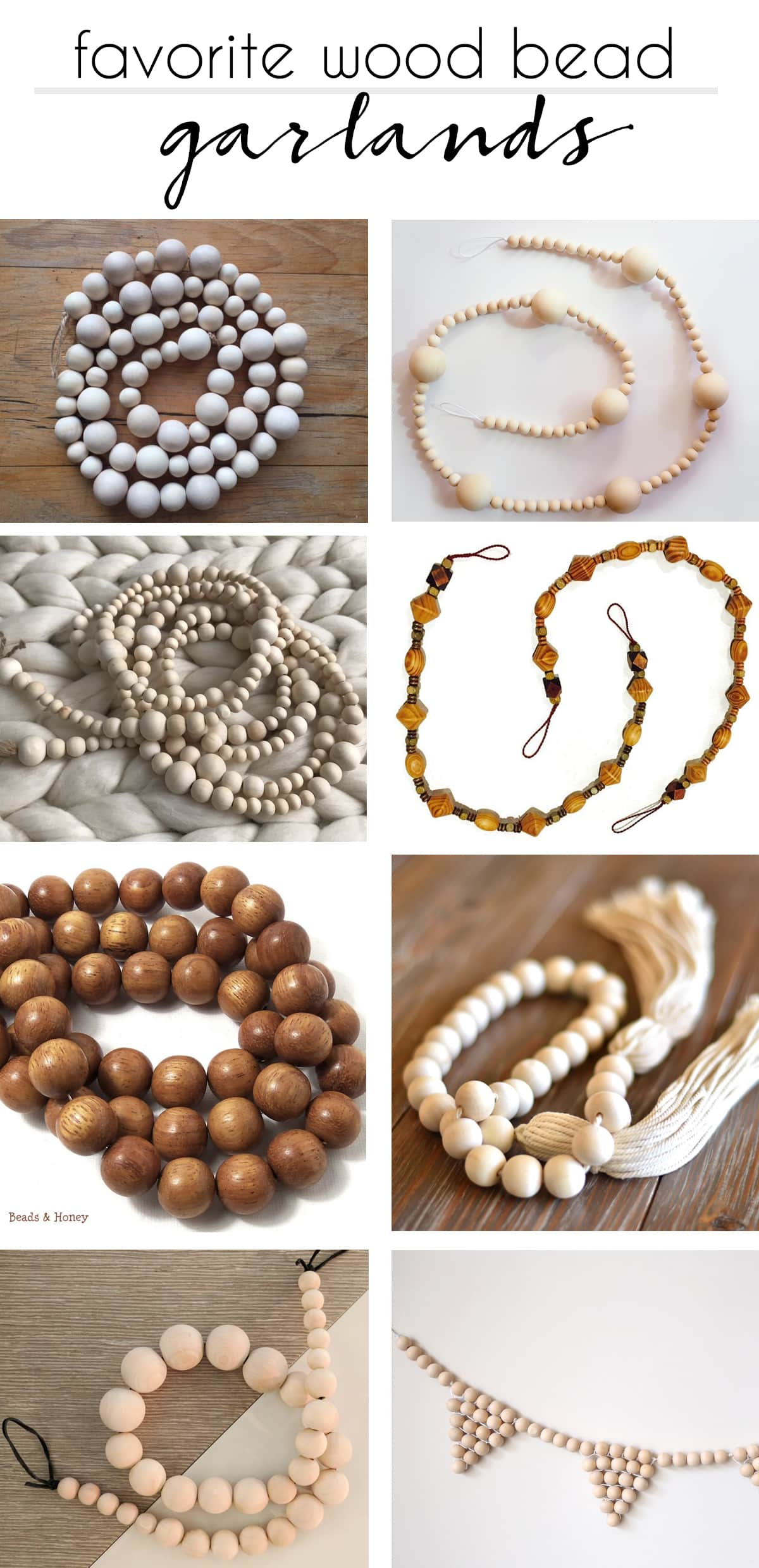 here is a round-up of my favorite handmade wood bead garlands on Etsy